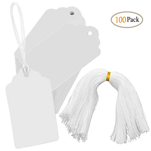 (White Marking Tags CiaraQ 100pcs Price Tags Writable Display Labels with Hanging String for Product Jewelry Clothing, 1.97 x 3.54inch)