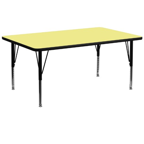 - Flash Furniture 30''W x 72''L Rectangular Table With Yellow Thermal Fused Laminate Top And Height Adjustable Legs