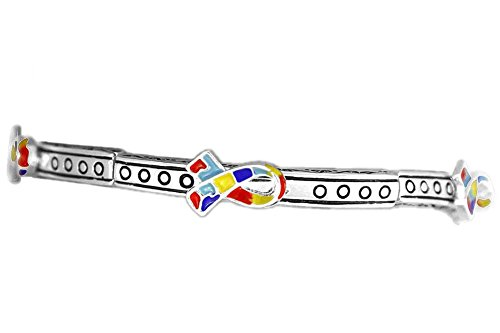 Autism Awareness Silver Ribbon Stretch Bracelet Hypo-Allergenic. Lead Compliant