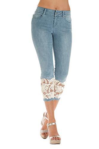 Zilcremo Mujeres Legging Denim Pantalones Skinny Pantalones Cosechados Azul