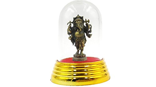 Lord Ganesh god of beginning success sculptures statue antique thai traditional with amulet case (King Neptune Wig)
