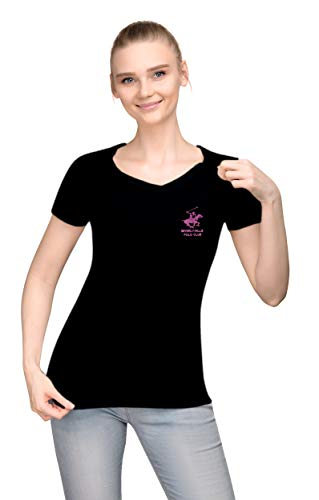 Beverly Hills Polo Club Ladies V Neck Cap Sleeve Top Basic Tee with Embroidered Logo - Black/Pink Small