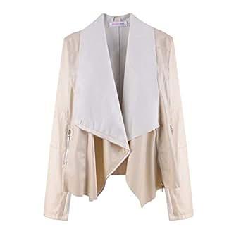 neveraway Women Waterfall Collar Long Sleeve PU Jacket Coat Casual Coat Jacket Beige S