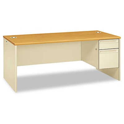 HON Right Pedestal Desk with Lock, 72 by 36 by 29-1/2-Inch, Harvest/Putty