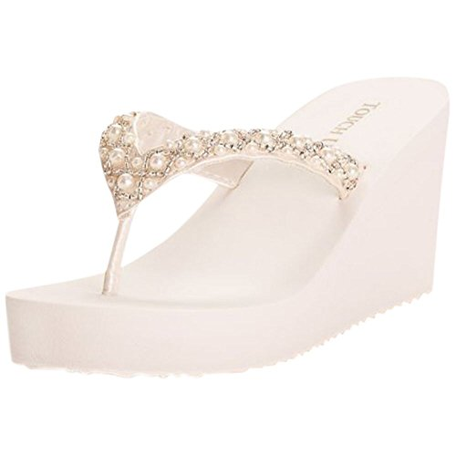 Davids Bridal Touch UPS Shelly Wedge Sandal Style Shelly Diamond White