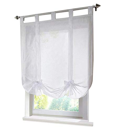 (86 York Tie Up Small Coffee Curtain Rod Pocket Kitchen Curtain Voile Roman Shades Curtain1 Panel)