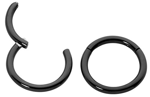(1 Pair Titanium 18G (Thin) Hinged Segment Ring Hoop Sleeper Earrings Body Piercing - 8mm Black)