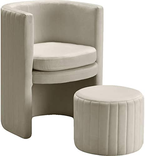 Meridian Furniture Selena Collection Modern | Contemporary Velvet Upholstered Accent Chair and Ottoman Set