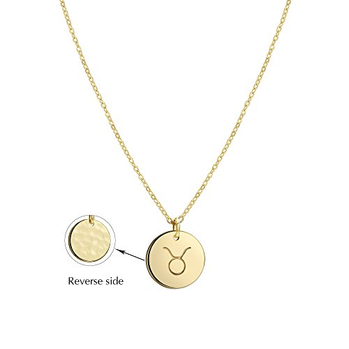 - Befettly Constellation Necklace Pendant 14K Gold-Plated Hammered Round Disc Engraved Zodiac Sign Pendant 17.5'' Adjustable Dainty Necklace NK-Taurus
