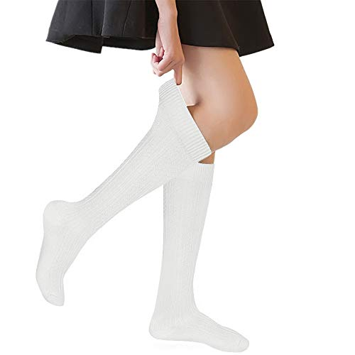 (Girls' Knee High Socks Cable Knit 10-16 Years Uniform Tube Cotton Socks White 3)