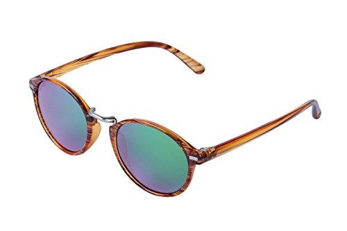 ULLERES Unisex Polarized Lenses 100% UV400 Protection Retro Eyewear (Strip DEMI, - 47 Sunglasses Size