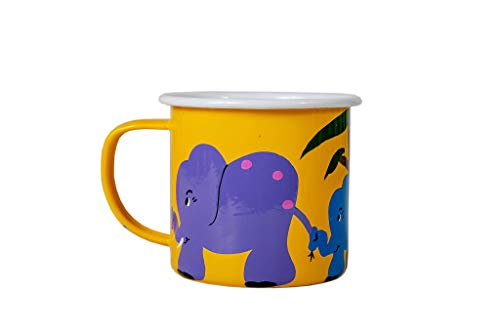 Wildlife Trio - Lumela Hand Painted Enamel Coffee Mugs Wildlife Jungle Animals Elephant Trio