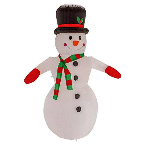 TCP Global Christmas Masters 8 Foot Inflatable Smiling Snowman with Top Hat and Red & Green Scarf LED Lights Indoor Outdoor Yard Lawn Decoration - Cute Fun Jolly Xmas Holiday Blow Up Party Display