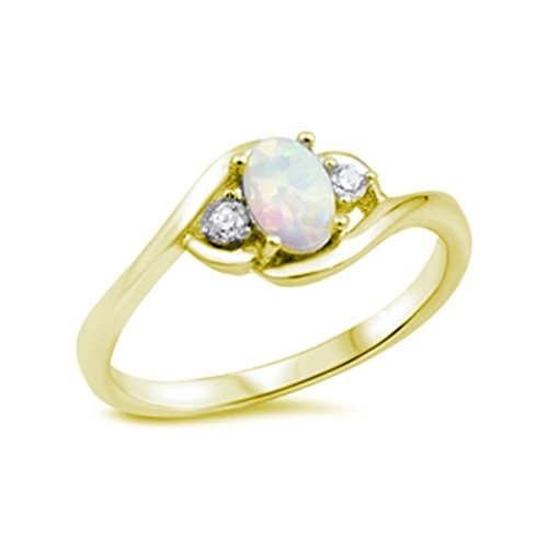 Wedding Engagement Ring Oval Cut LabWhite Opal Round CZ Yellow Tone Plated 925 Sterling Silver, Size-9 Yg Opal Ring
