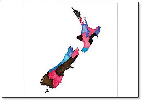 Map of New Zealand Artwork Illustration Fridge Magnet (Outline Map Of Oceania Australia And New Zealand)