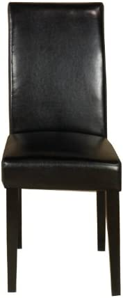 Armen Living Black Leather Side Chair (Set of 2), 20x16x38