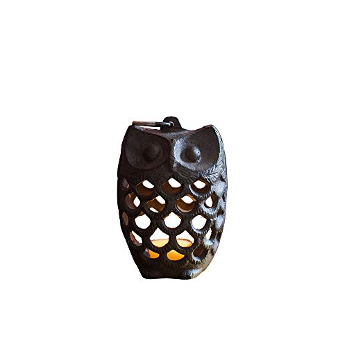 (KMYX Retro Antique Small Cast Iron Aromatherapy Furnace Mini Creative   Owl Pine Cone Iron Candlestick Home Decorative Ornaments Groceries Garden Gifts (Size : A))