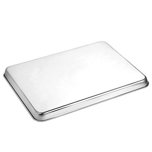 Stainless Steel Baking Sheets with Rack, HKJ Chef Cookie Sheets and Nonstick Cooling Rack & Baking Pans for Oven & Toaster Oven Tray Pans, Rectangle Size 12L x 11W x 1H inch & Non Toxic & Healthy by HKJ Chef (Image #2)
