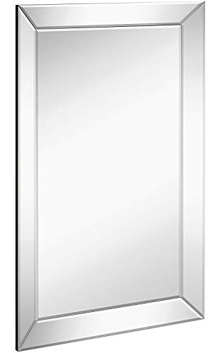 (Large Framed Wall Mirror with Angled Beveled Mirror Frame | Premium Silver Backed Glass Panel Vanity, Bedroom, or Bathroom | Luxury Mirrored Rectangle Hangs Horizontal or Vertical (20