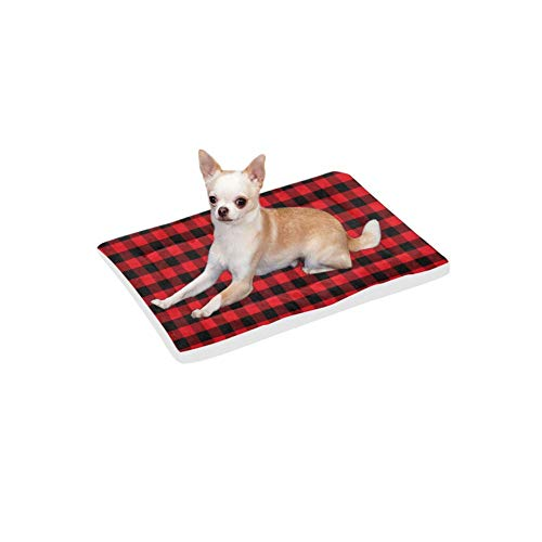 (VunKo Black and Red Plaid Rectangle 24 Inch Pet Bed Home Mat for Dogs and Cats Indoor/Outdoor Machine Washable Kong Crate Mat)