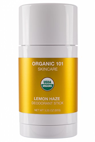 ORGANIC 101 Lemon Haze USDA Certified, All Natural, Extra-Strength Deodorant No Aluminum, Parabens, Other Toxic Chemicals, Stay Clean, Smell Fresh (3.25oz, Satin -