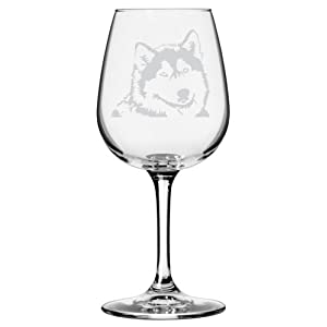 Alaskan Malamute Dog Themed Etched All Purpose 12.75oz Libbey Wine Glass 9