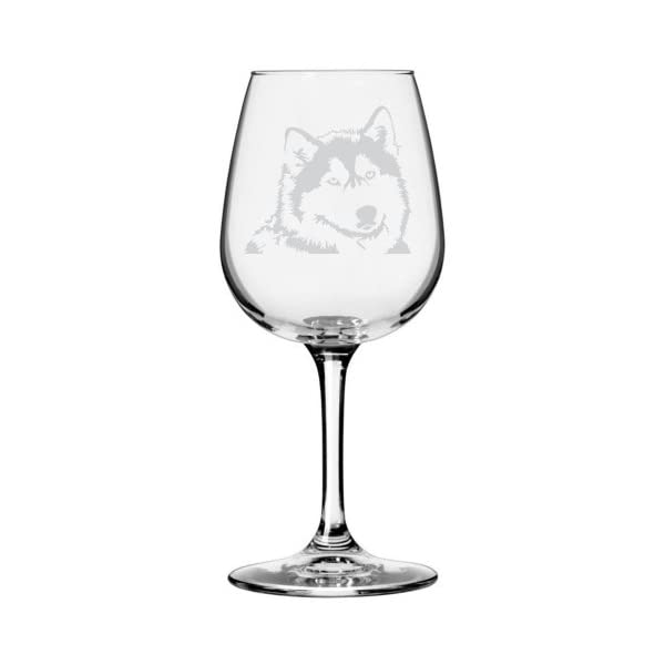 Alaskan Malamute Dog Themed Etched All Purpose 12.75oz Libbey Wine Glass 1