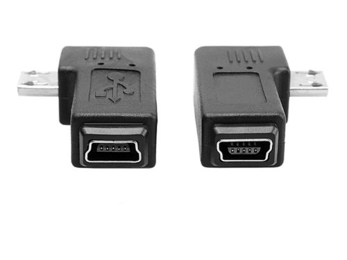 Pair 90degree B Left Right Angle Micro Usb Male to Mini Female Connector Adapter