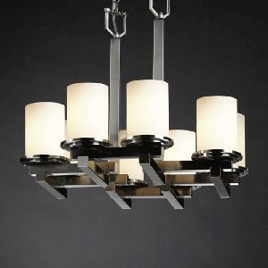Justice Design Group WGL-8770-10-GRCB-NCKL Wire Glass Collection Dakota 8-Light Zig-Zag Chandelier - Dakota Collection Chandelier Light Fixture