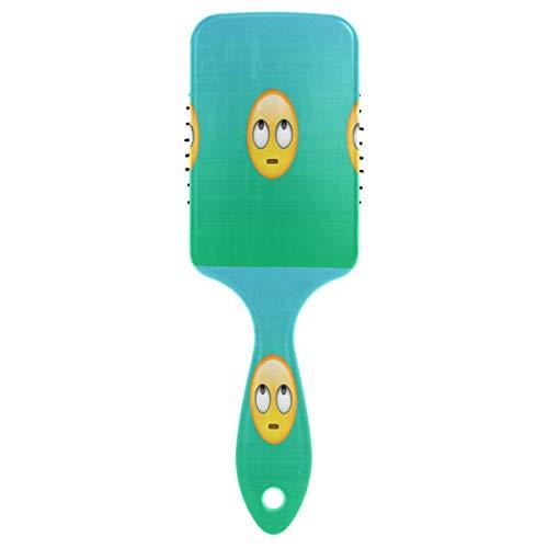 White Eye Emoji Hair Brush with Grip Handle Massage Scalp Plastic Hairbrush Detangler Vented Nylon Pins Air Cushion Tickling Comb Anti Static & Frizz, for Thick Curly Wet Dry Hair ()