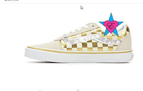 b966821318a64 Amazon.com: Custom Crystal Bling Rhinestone Gold White Checker Women ...