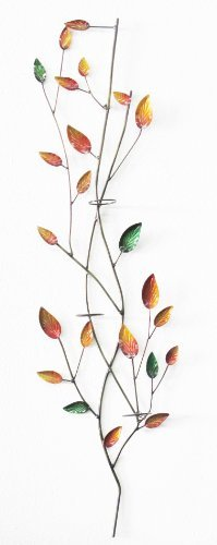 D-ART COLLECTION Iron Leaves Wall Decor with Votive Holder
