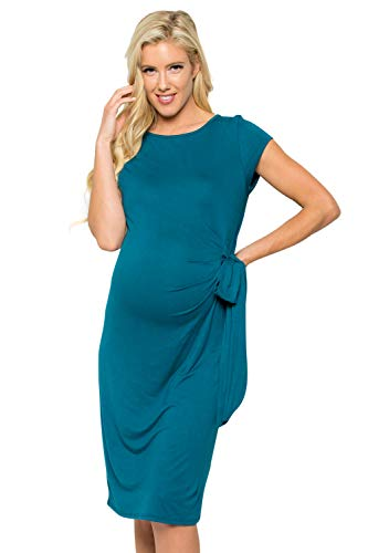 My Bump Women's Side Bow Tie Cap Sleeve Solid Color Maternity Dress(Made in USA) (X-Large, Teal Solid)