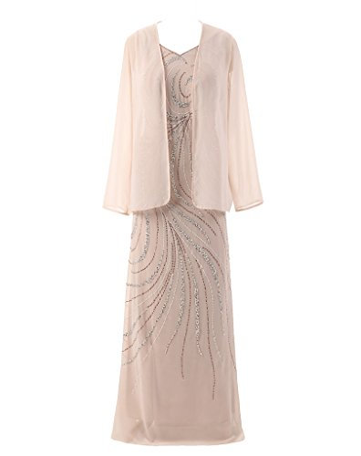 HarveyBridal Crystal Mother of the Bride Dress with Long Sleeve Jacket Champagne