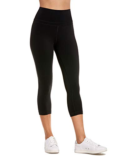CRZ YOGA Women's Naked Feeling High Waist Active Pants Cropped Tights Yoga Capri Black-19'' XXS(00) ()