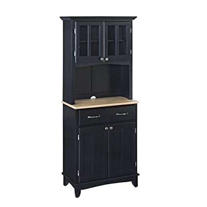 Home Styles Black Server with Natural Wood Top and Two Door Hutch Small