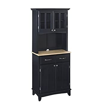 Black Server With Natural Wood Top And Two Door Hutch Small