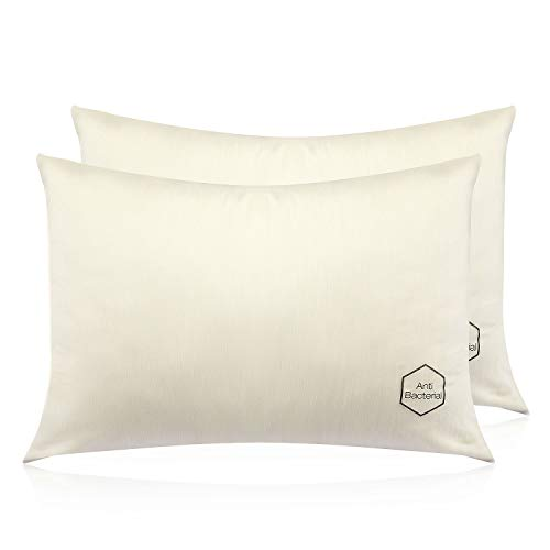 F1F2 2-Pack Pillowcases Copper Infused Fiber Breathable Cool Comfortable, Standard Size (20'x30')