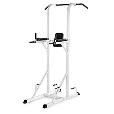 XMark Multi-Function Power Tower With Vertical Knee Raise, Dip Station, Push-Up station, and Pull-Up Station Featuring A Narrow and Wide Grip XM-4434