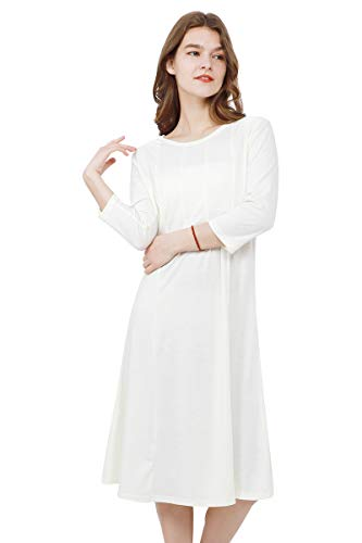 YMING Women's Casual Shirt Dress 3/4 Sleeve Elegant Dress Trapeze Midi Dress Beige S