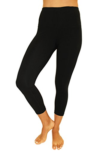 90 Degree By Reflex - High Waist Cotton Power Flex Capri Black Large (What Is The Best Brand Of Basketball)