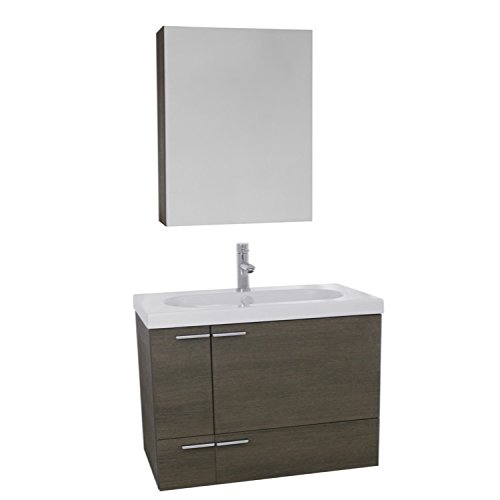 - ACF ANS1261 New Space Bathroom Vanity with Fitted Ceramic Sink Wall Mounted and Medicine Cabinet Included, 31