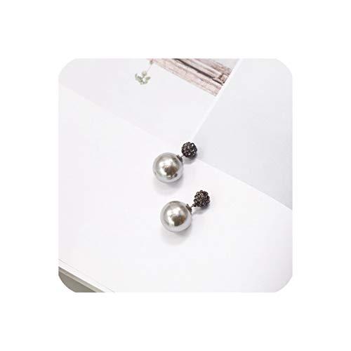 Geometric Pearl Long Earrings Gray Wood Wool Ball Rhinestone Flower Bow Stud Earring,18 ()