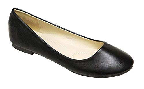 Toe Leather Suede - Bella Marie Stacy-13 Women's Round Toe Suede Leather Slip on Boat Ballet Flat Shoes Black PU 8