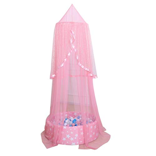 Beddings&Beddings Kukakoo Fashion Summer Bed Dome Curtain Canopy Chiffon Breathable Kids Baby Room Mosquito Net - Pink