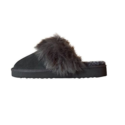 Lined Valdaora Slipper Ladies Grey Shoes Ash Dude Women's Suede Fur q6OwC70x