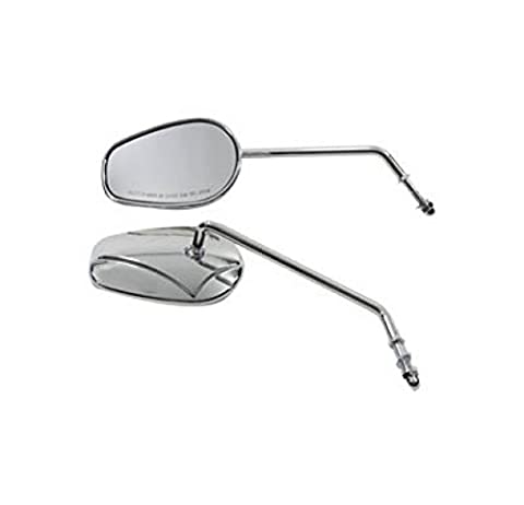 V-Twin 34-0392 Rectangle Mirror Set With Round Long Stems - V-twin Motorcycle Parts