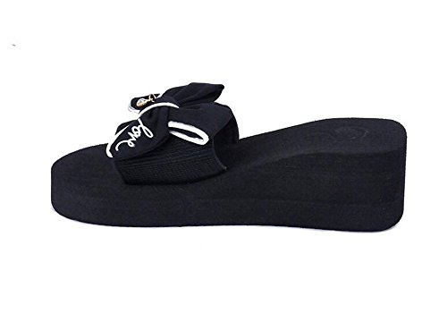 excellent.c 2018 Drag Female Non-Slip Clip Flat Wedge Sandals Ladies Fashion Thick Sandals and Slippers(Black-39/8.5 B(M) US Women) ()