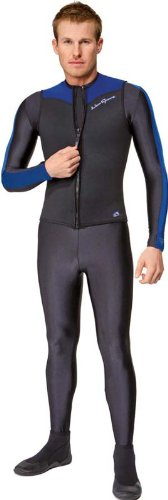 NeoSport Wetsuits Men's Premium Neoprene 2.5mm Zipper Vest, Blue Trim, Small - Diving, Snorkeling & (Neosport Vest)
