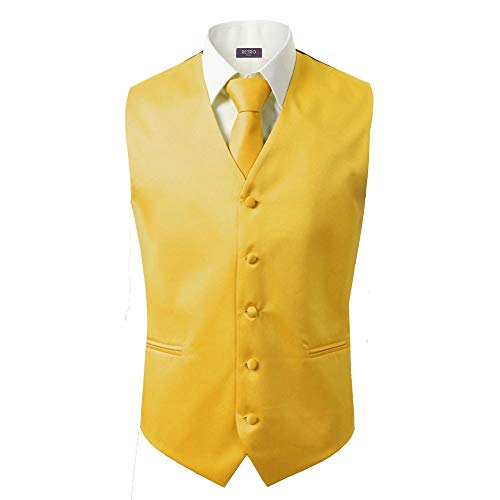 3 Pcs Vest + Tie + Hankie Men's Fashion Formal Dress Suit Slim Tuxedo Waistcoat Coat (XXXX-Large, Yellow)